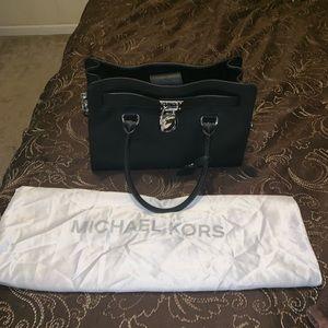 MK black medium satchel silver hardware
